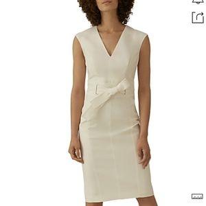 NWT,KAREN MILLEN Tie-waist Sheath Dress In Ivory